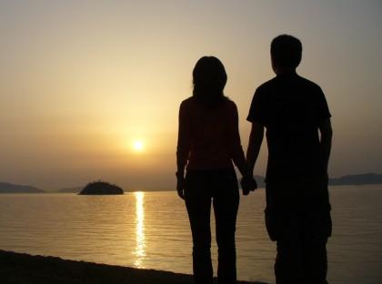 Couple enjoys moment