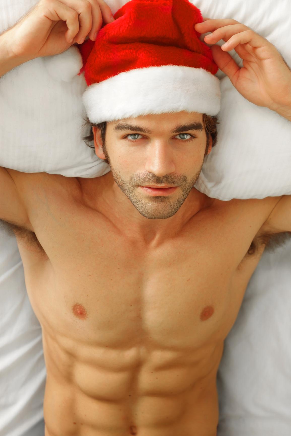Guys naked with santa hats #4