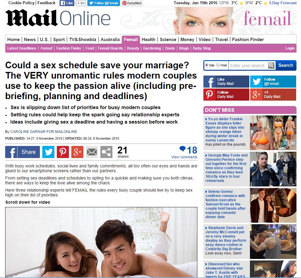 MailOnline Sex Schedule