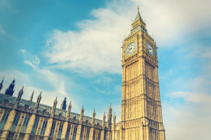 Big Ben Clock Tower and House of Parliament, London, England, UK, vintage style