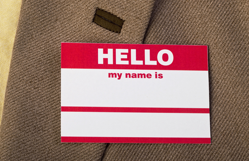 Name tag on jacket for you to fill out.